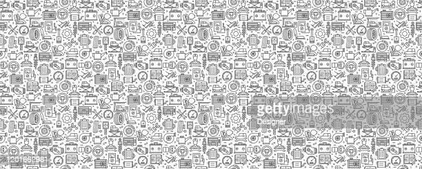 stockillustraties, clipart, cartoons en iconen met autoservice gerelateerd naadloos patroon en achtergrond met line-pictogrammen - part of