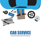 Car service,Auto mechanic,Car Mechanic Repairing Under Automobil