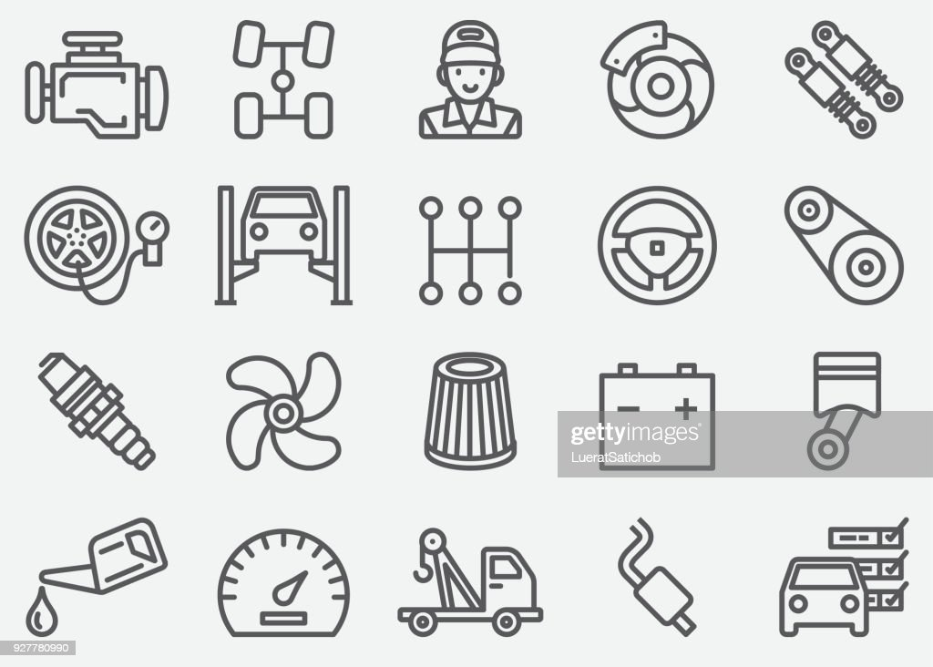 Car Services Line Icons : stock illustration