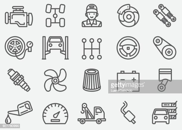 car services line icons - wheel stock illustrations, clip art, cartoons, & icons