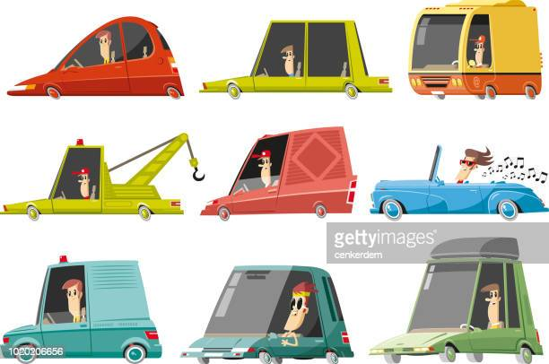 car set - hatchback stock illustrations, clip art, cartoons, & icons