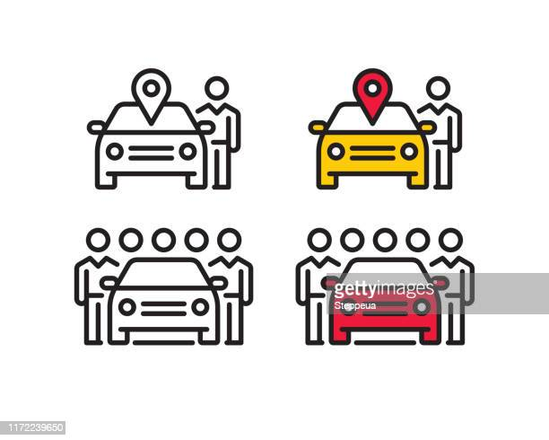 car sharing line icons - front view stock illustrations