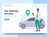 Car sharing service advertising web page template. A man with a smartphone standing near the car. Modern landing page for mobile app with colorful illustration. Business website concept. Eps 10.