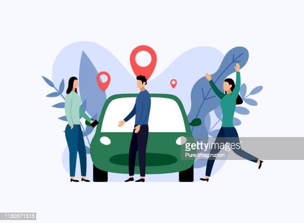 Car sharing service, mobile city transportation, business concept vector illustration