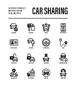 Car sharing set. Mobile app on smartphone, driver license, route, key, car inspection, route, open and close car, sync thin line icons. Vector illustration.