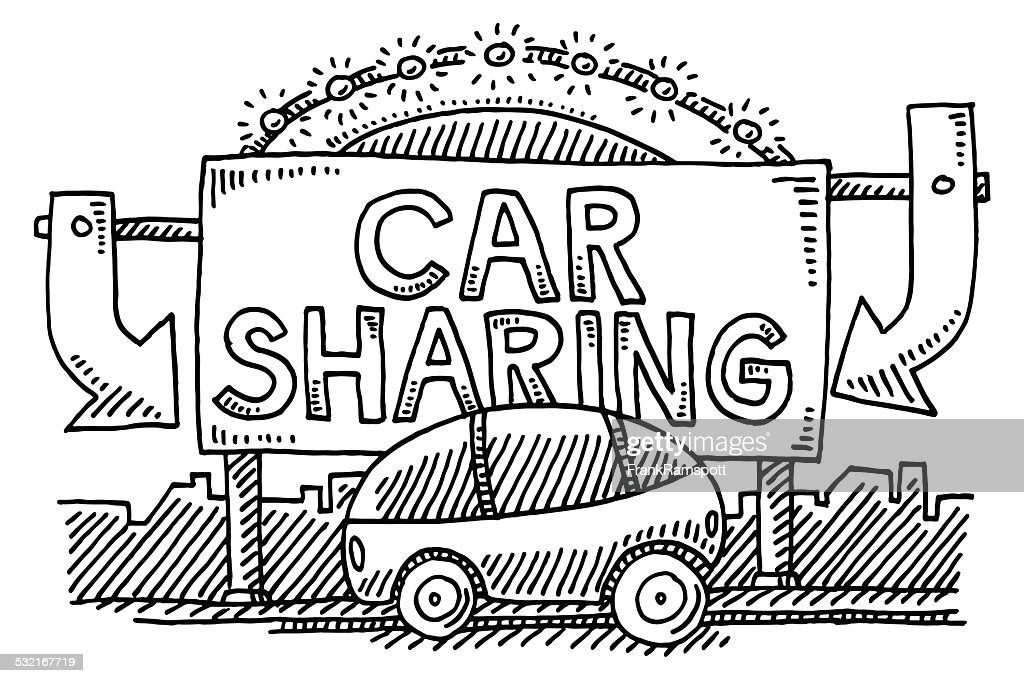 Car Sharing Sign City Transportation Drawing High Res Vector