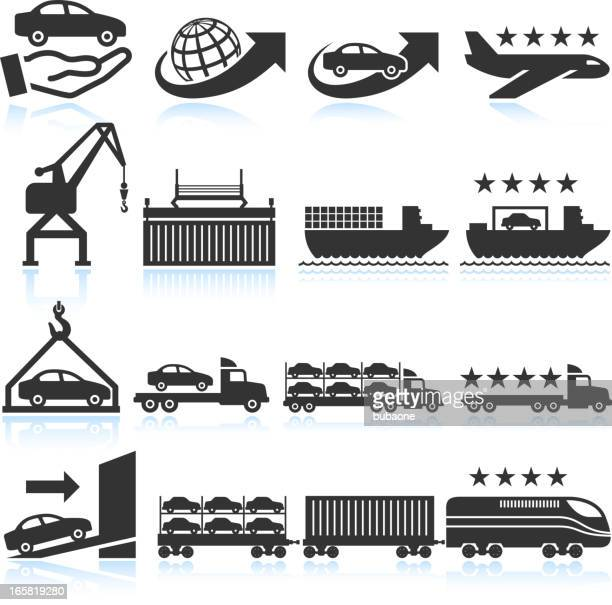 Car shipping and delivery icon set