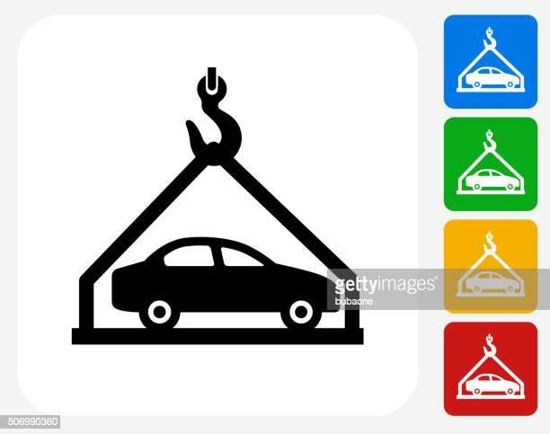 お車の配送のグラフィックデザインアイコンフラット - 荷積み場点のイラスト素材/クリップアート素材/マンガ素材/アイコン素材