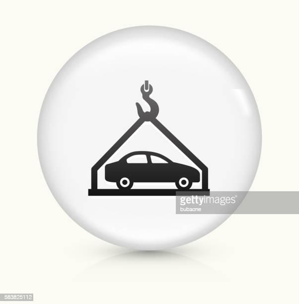 お車の配送のアイコンホワイト丸いベクトルボタン - 荷積み場点のイラスト素材/クリップアート素材/マンガ素材/アイコン素材