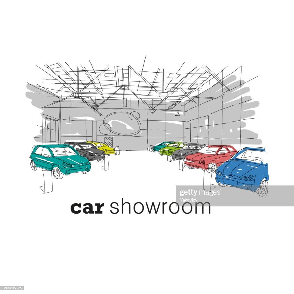 Car Showroom Interior Design Sketch Hand Drawn Vector Illustration