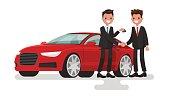 Car showroom. Purchase sale or rental car. Seller man