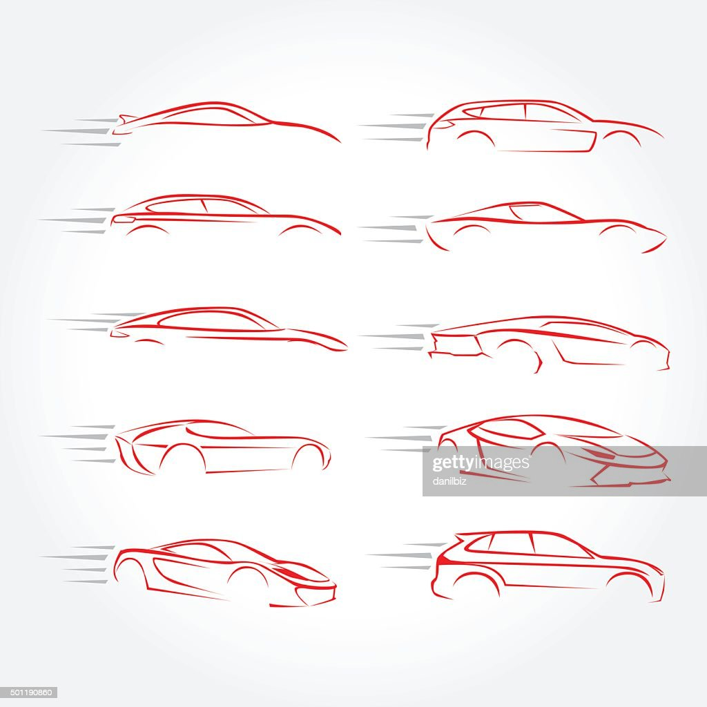 Car  Silhouettes - car emblems, service and repair, vector set.