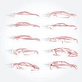 Car  Silhouettes - car emblems, service and repair, vector set.
