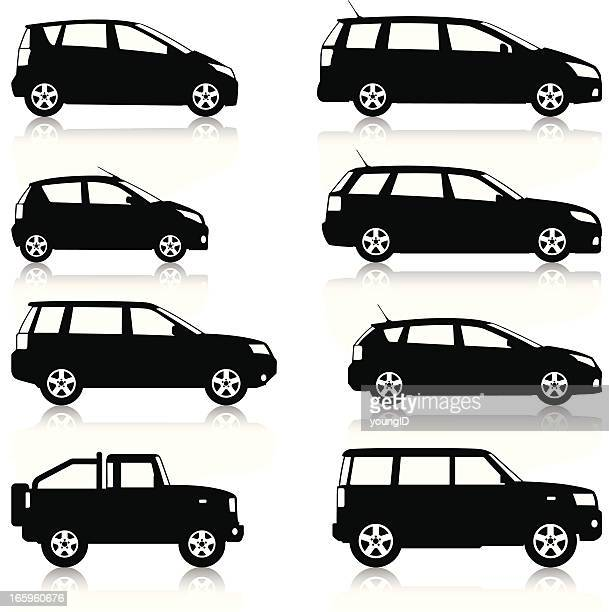 car silhouettes set - compact car stock illustrations, clip art, cartoons, & icons