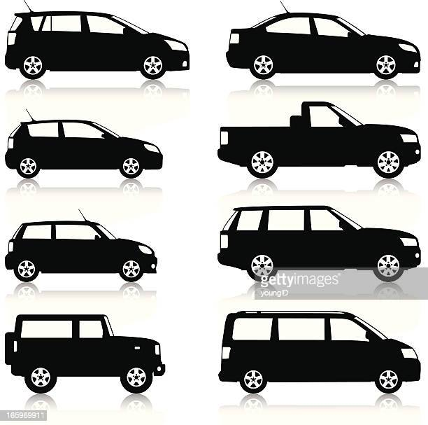 car silhouettes set - side view stock illustrations