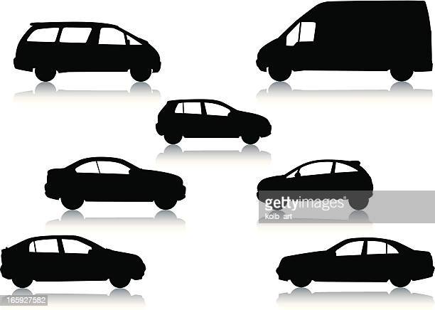 car silhouettes - commercial land vehicle stock illustrations