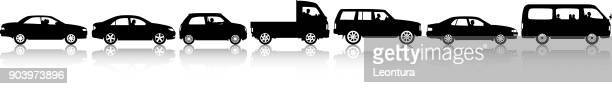 car silhouettes - queuing stock illustrations