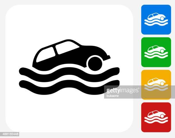 Car Sinking Icon Flat Graphic Design