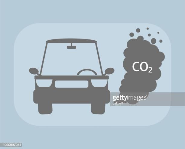 ilustraciones, imágenes clip art, dibujos animados e iconos de stock de niebla con humo del coche - gas de efecto invernadero