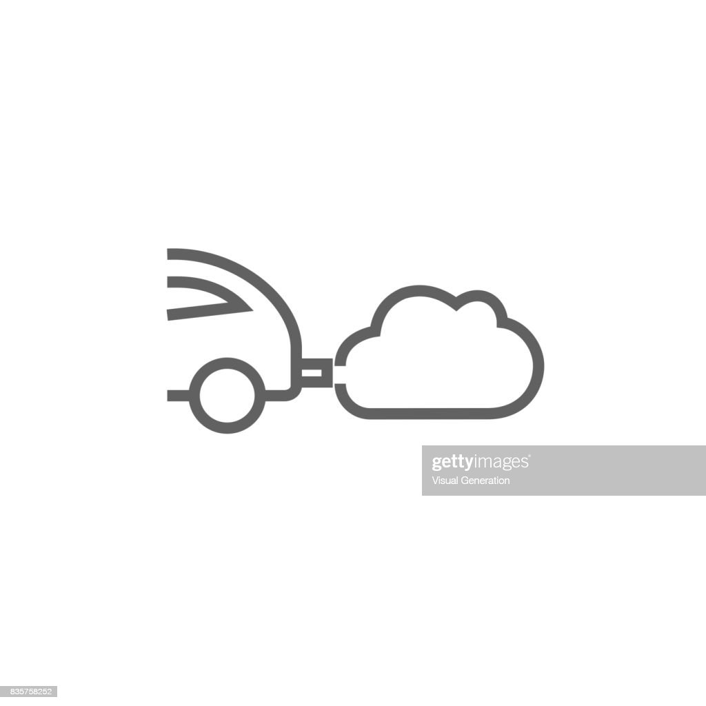 Car spewing polluting exhaust line icon