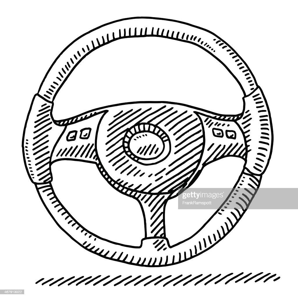 Car Steering Wheel Drawing : stock illustration