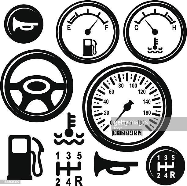 Car Steering Wheel, Gear, Horn, Fuel, Temperature, Speed Control Icons