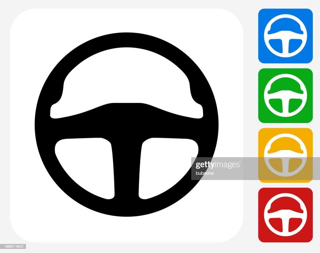 Car Steering Wheel Icon Flat Graphic Design