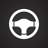 Car steering wheel on black background for graphic and web design, Modern simple vector sign. Internet concept. Trendy symbol for website design web button or mobile app.