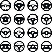 Car steering wheel. Vector set.