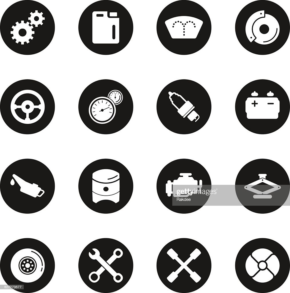 Car Tools Icons - Black Circle Series