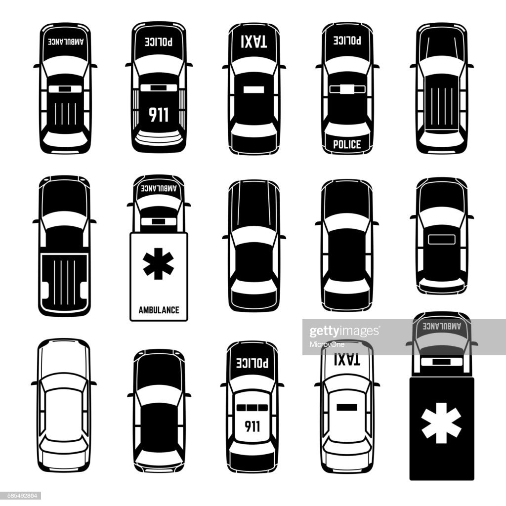 Car top view transportation vector black icons
