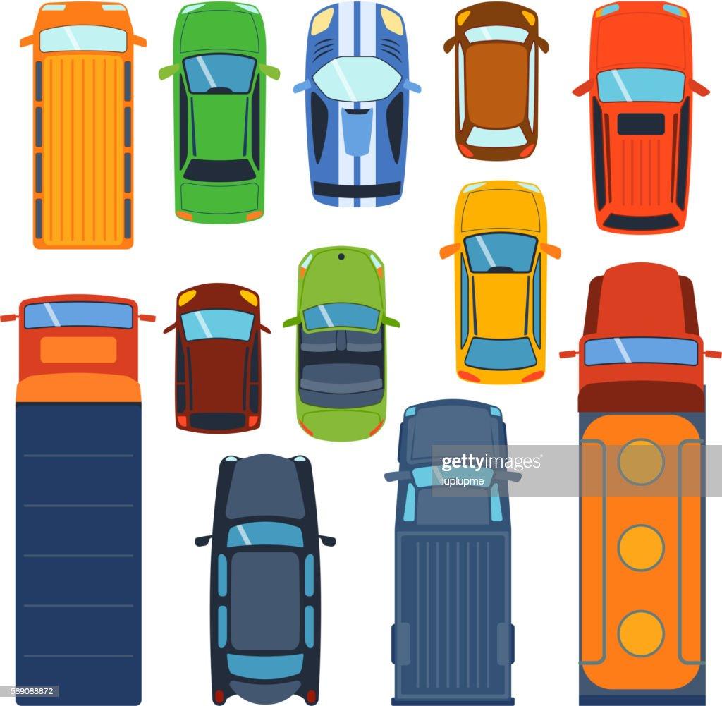 Car top view vector set.