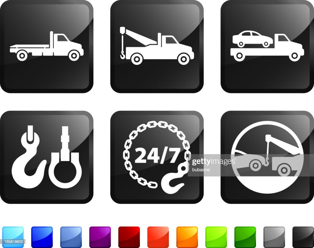 Car Towing Service And Tow Truck Vector Icon Set Stickers Vector Art
