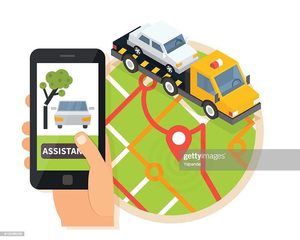 Car towing truck, online roadside assistance. Evacuator in mobile app