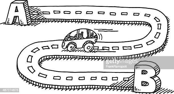 車の旅、b street に描出 - アルファベットのb点のイラスト素材/クリップアート素材/マンガ素材/アイコン素材