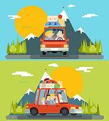 Car Trip Family Adult Children Road Concept Flat Design Icon