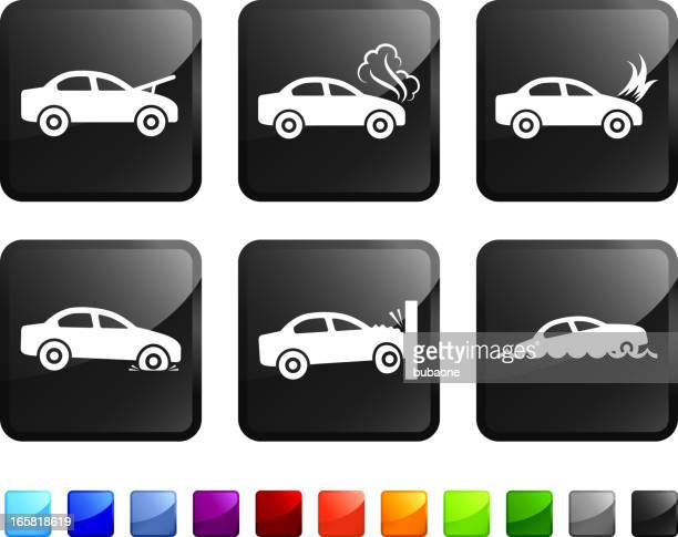 car trouble and accident royalty free vector icon set stickers - car crash wall stock illustrations