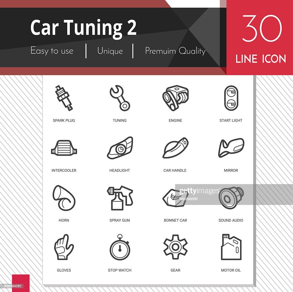 Car tuning elements vector icons set 2 on white background.