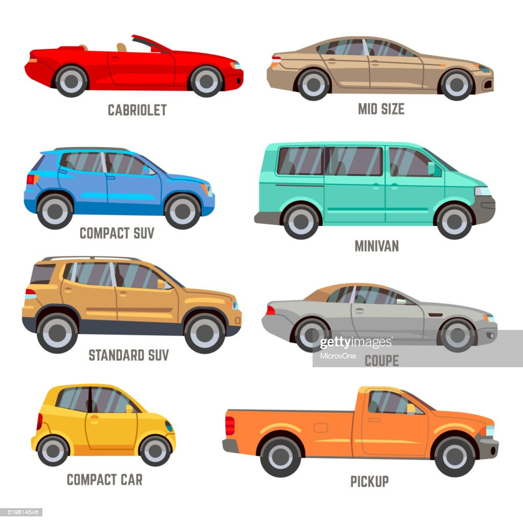 Car types flat icons