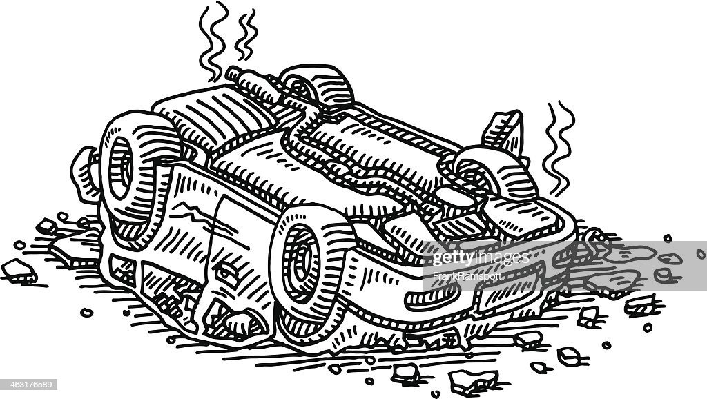Car Upside Down Accident Drawing Vector Art | Getty Images