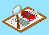 Car valuation and insurance. Isometric illustration.