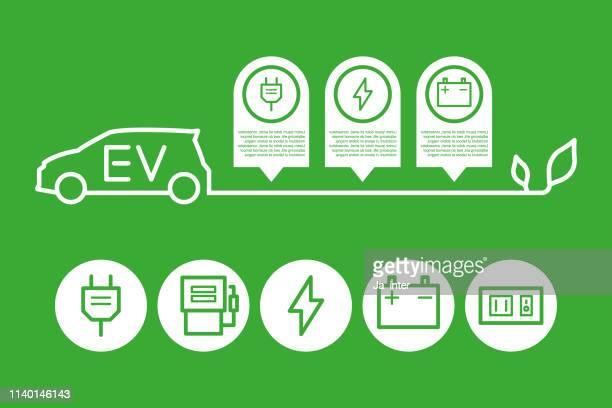 ev car - hybrid car stock illustrations, clip art, cartoons, & icons