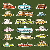 car vector sticker doodle