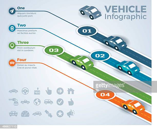 car vehicle and driving infographic - runaway vehicle stock illustrations, clip art, cartoons, & icons