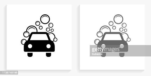 illustrations, cliparts, dessins animés et icônes de icône de lavage de voiture noir et blanc carré - station de lavage auto