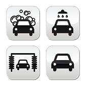 Car wash buttons set - vector