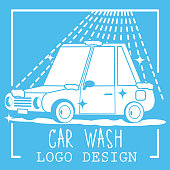Car wash cartoon logo on background