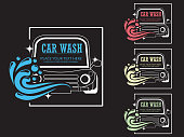 Car wash cartoon logo on blackboard.