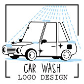 Car wash cartoon logo on light background