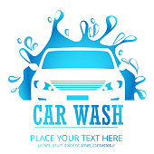 Car wash cartoon logo.